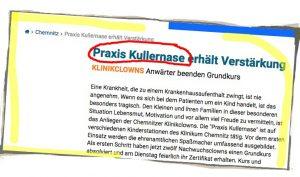 Ein Screenshot des Blickwinkels Chemnitz über die Praxis Kullernase.